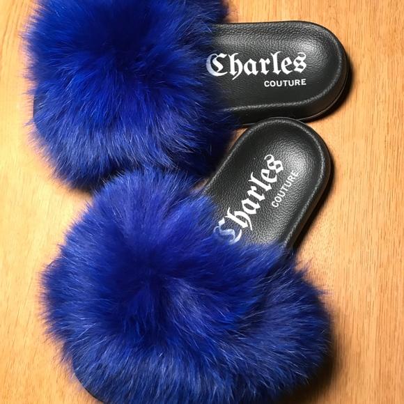 Shoes | Royal Blue Fur Slides | Poshmark